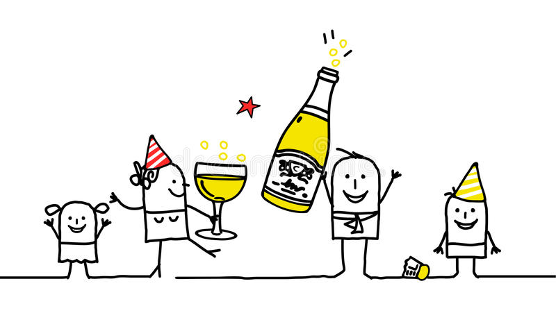 nytt år för familj vektor illustrationer