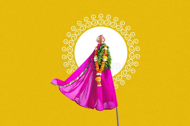 Nytt år för Gudi Padwa Marathi stock illustrationer