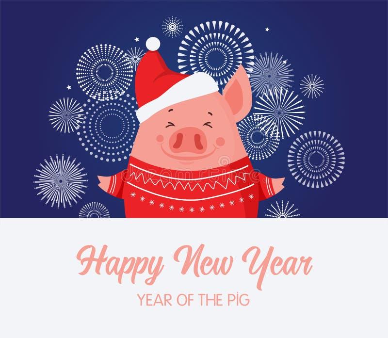 Nytt år för gullig svinberöm Lyckligt kinesiskt nytt år 2019, året av svinet julsvin på en fyrverkeribakgrund stock illustrationer
