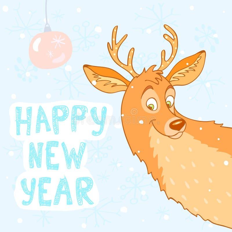 Nytt år för hjortar royaltyfri illustrationer