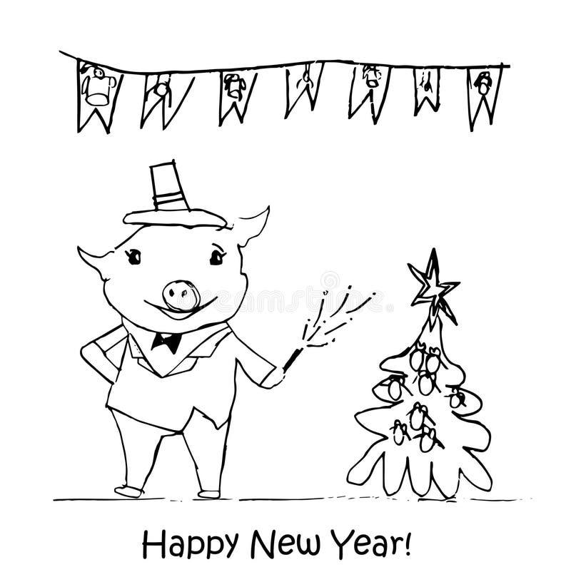 nytt år för illustration Barns teckningar med svart krita på en vit bakgrund Julgran päls-träd leksaker, godis, svin, 2019 vektor illustrationer