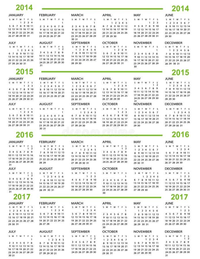 Nytt år för kalender   2014 2015 2016 2017 vektor illustrationer
