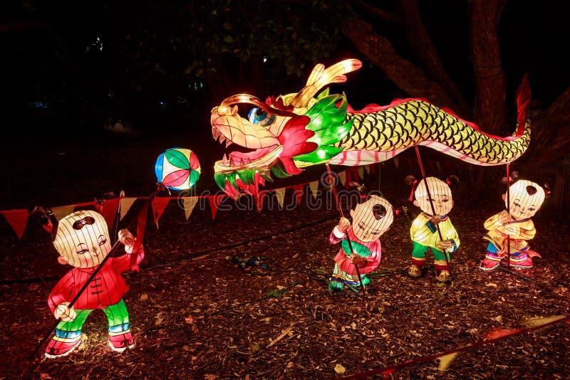 nytt år för kinesiska lyktor Dragon Dance arkivfoto