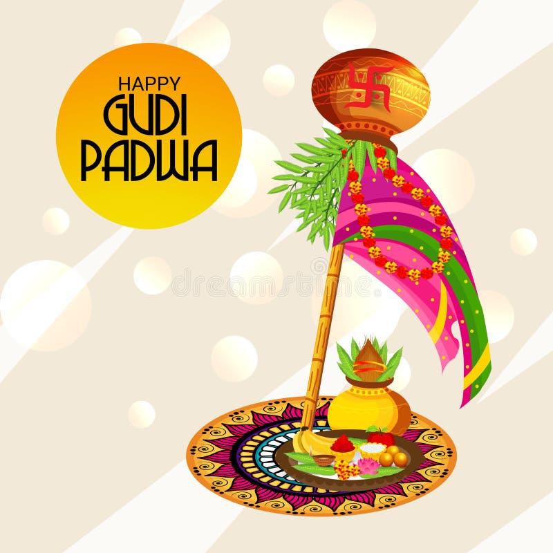 Nytt år för lycklig Gudi Padwa Marathi royaltyfri illustrationer