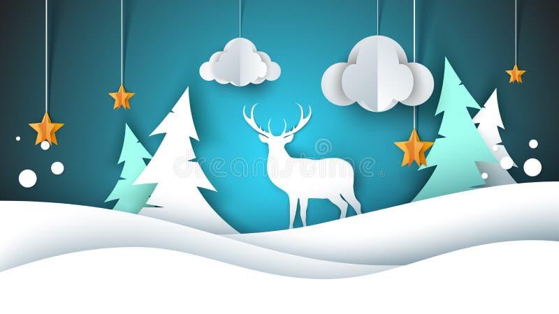 nytt år för lycklig illustration glad jul Hjortar gran, moln, stjärna, vinter royaltyfri illustrationer
