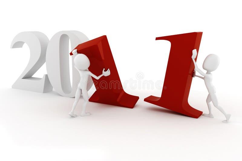 nytt år för lycklig man 2011 3d stock illustrationer