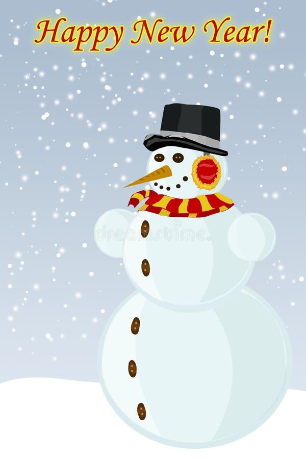 Nytt år för snögubbe, vektorbilden vektor illustrationer