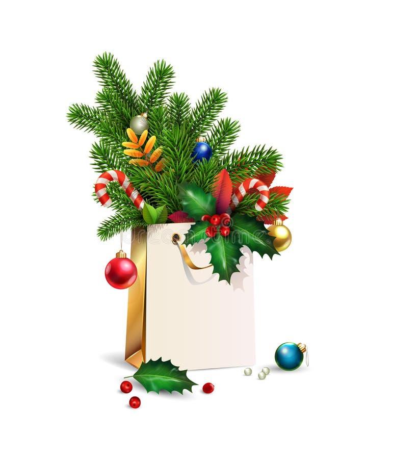 Nytt år för vektor, illustration för glad jul 3d guld- shoppa påse, garneringar av granen, granfilialer, julleksaker som är färgr royaltyfria bilder