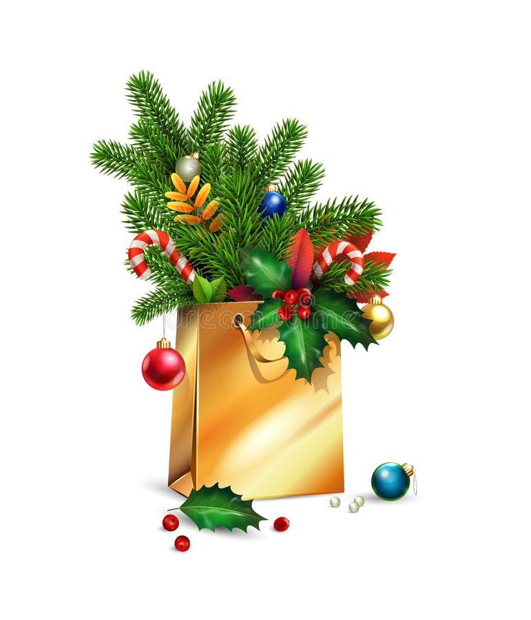 Nytt år för vektor, illustration för glad jul 3d guld- shoppa påse, garneringar av granen, granfilialer, julleksaker som är färgr fotografering för bildbyråer