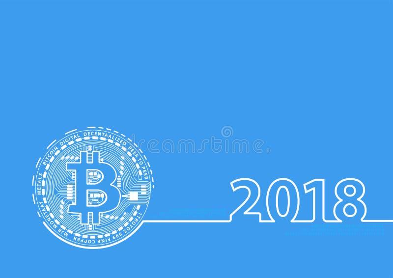 Nytt år 2018 fodrar thin cryptocurrencybitcoin stock illustrationer