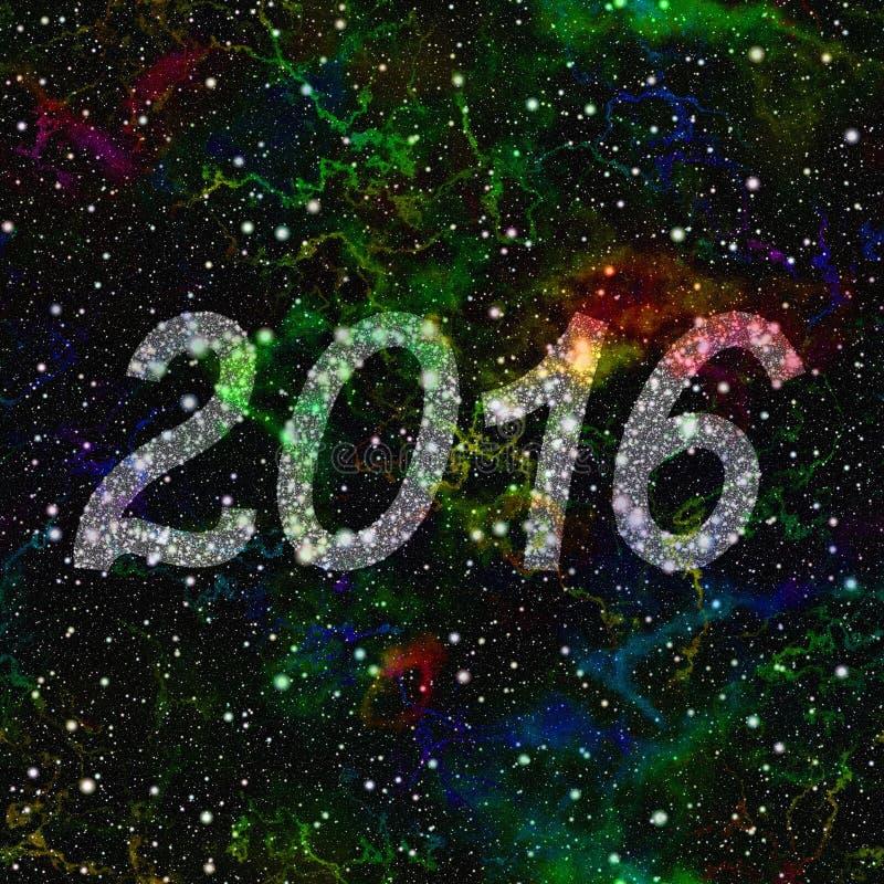 Nytt år 2016 gjorde av stjärnor i färgrikt universum seamless illustrationrep vektor illustrationer