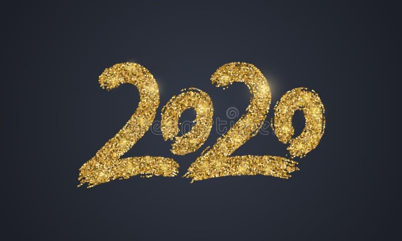 Nytt 2020 år guld- glitter royaltyfri illustrationer
