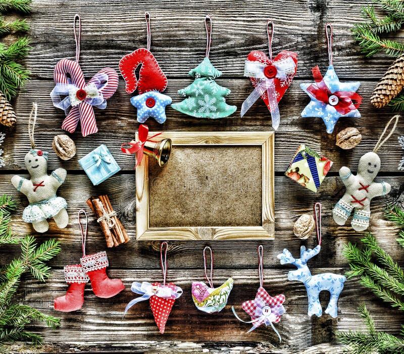nytt år Hemlagade julleksaker och garnering, royaltyfri foto