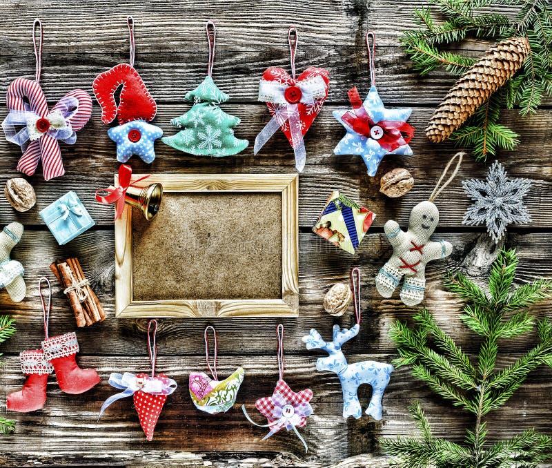 nytt år Hemlagade julleksaker och garnering, fotografering för bildbyråer