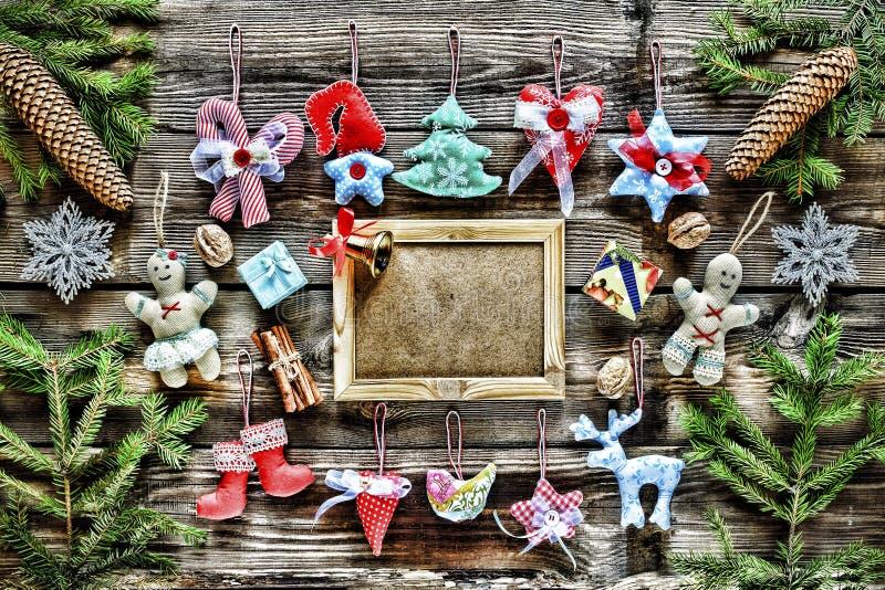 nytt år Hemlagade julleksaker och garnering, arkivfoton