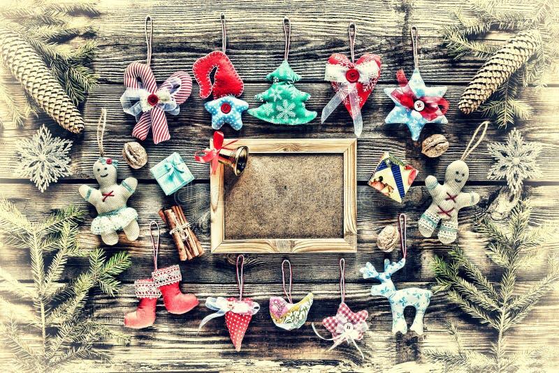 nytt år Hemlagade julleksaker och garnering, royaltyfria bilder