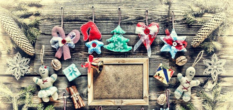 nytt år Hemlagade julleksaker och garnering, royaltyfria foton