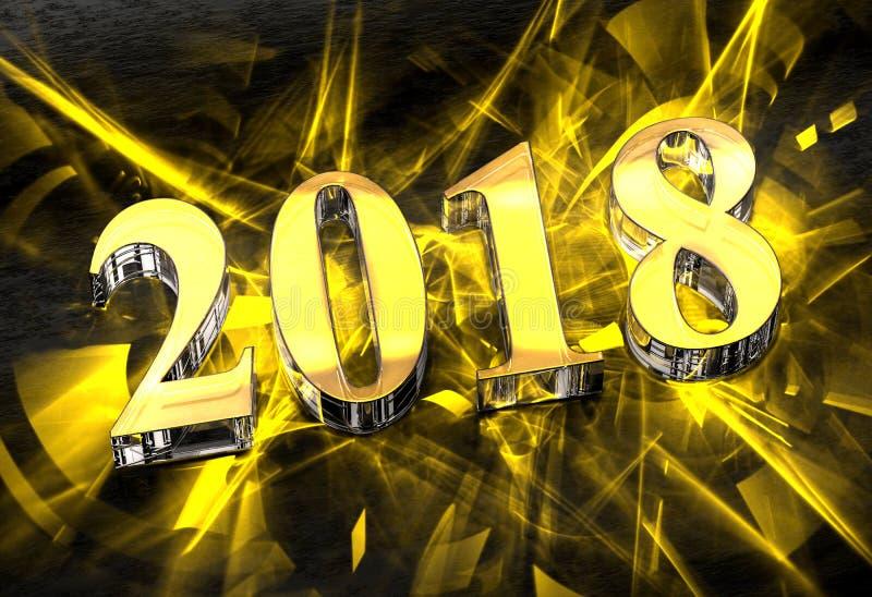 Nytt år 2018 i exponeringsglas med gula caustics royaltyfri illustrationer