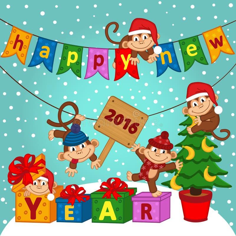 nytt år 2016 med apor royaltyfri illustrationer