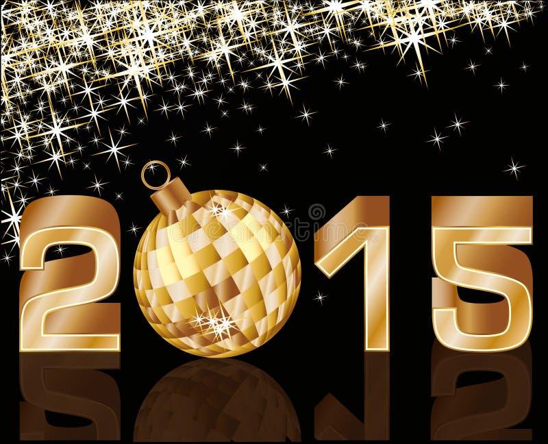 Nytt 2015 år med den guld- xmas-bollen royaltyfri illustrationer