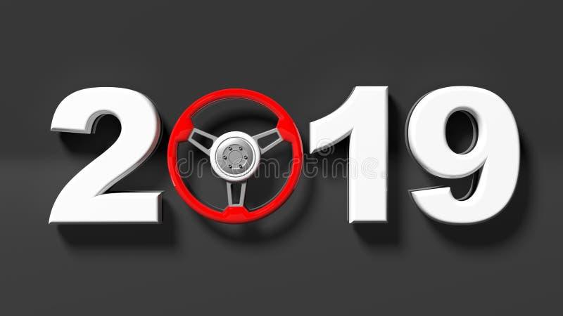 Nytt år 2019 med det röda hjulet för styrning för bil` s på svart bakgrund illustration 3d vektor illustrationer