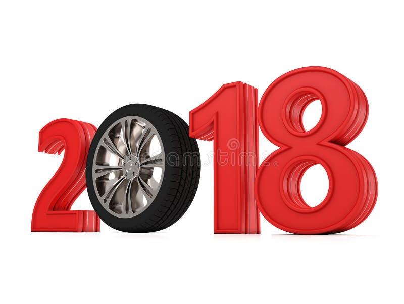 Nytt år 2018 med hjulet vektor illustrationer