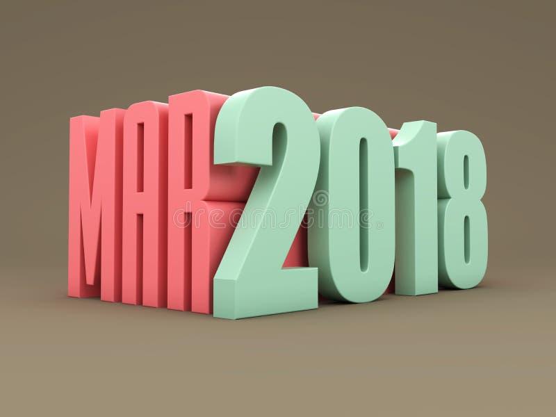 Nytt år 2018 med marsmånad stock illustrationer