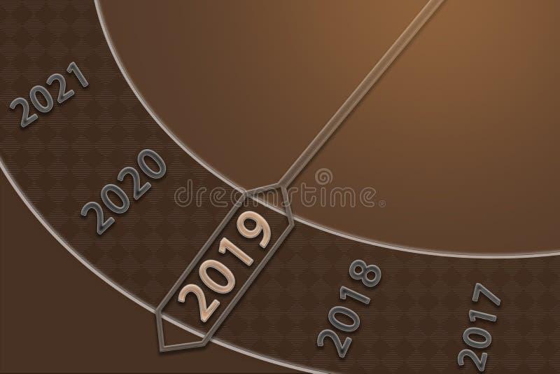 Nytt år 2019 Modern och minimalistic design för lyckligt nytt år för hälsningkort, affischer, broschyr royaltyfri bild
