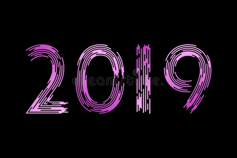 Nytt år nummer 2019 Trendig borste I trenden Violett lutning på en svart bakgrund royaltyfri illustrationer