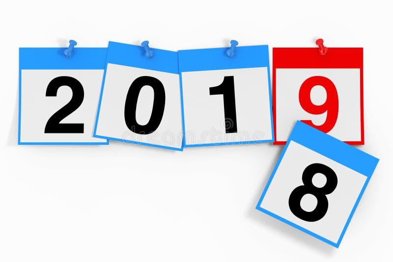Nytt 2019 år startbegrepp Kalenderark med 2019 nya år royaltyfri illustrationer