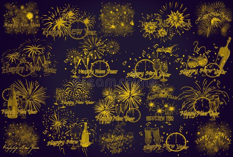nytt år violett symbol Bakgrund Fyrverkerier stock illustrationer