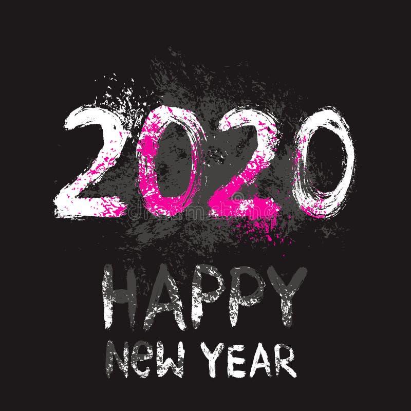 2020 nytt års Eve Vector Illustration för kortet, baner, affisch som skrivar ut vektor illustrationer
