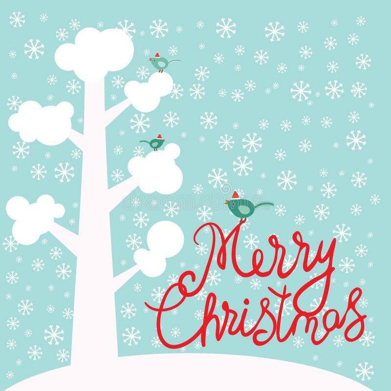 Nytt års för glad jul träd för design för kort med vit snö på filialerna, fåglar, snöflingor på azur himmelbakgrund vektor stock illustrationer