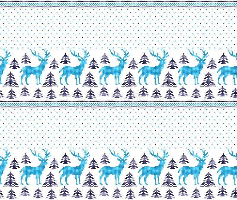Nytt års för jul modell för PIXEL för vinter sömlös festlig norsk - skandinavisk stil vektor illustrationer