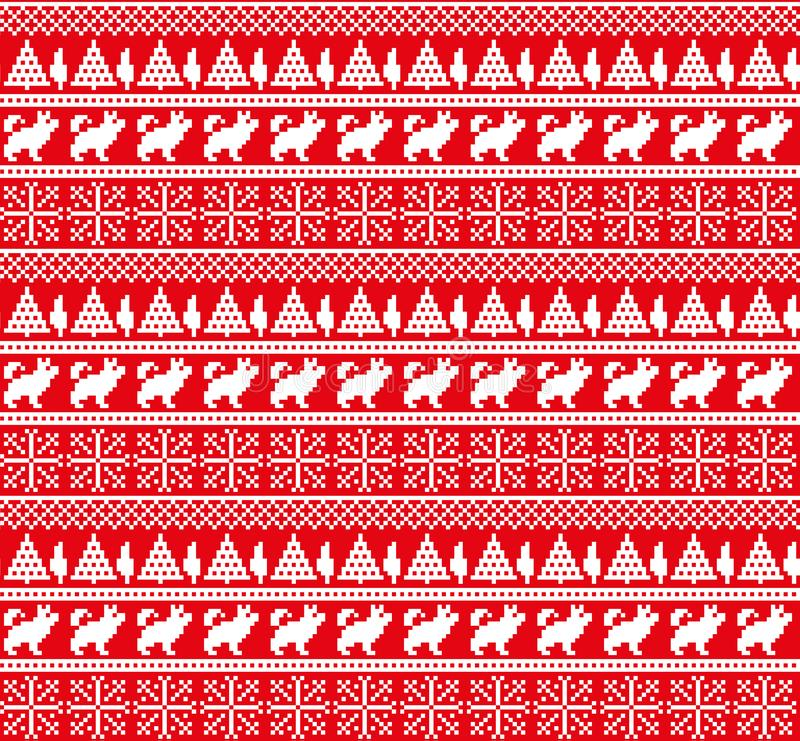 Nytt års för jul modell för PIXEL för vinter sömlös festlig norsk - skandinavisk stil stock illustrationer