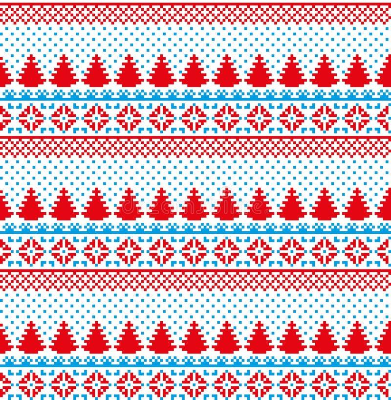 Nytt års för jul modell för PIXEL för vinter sömlös festlig norsk - skandinavisk stil royaltyfri illustrationer