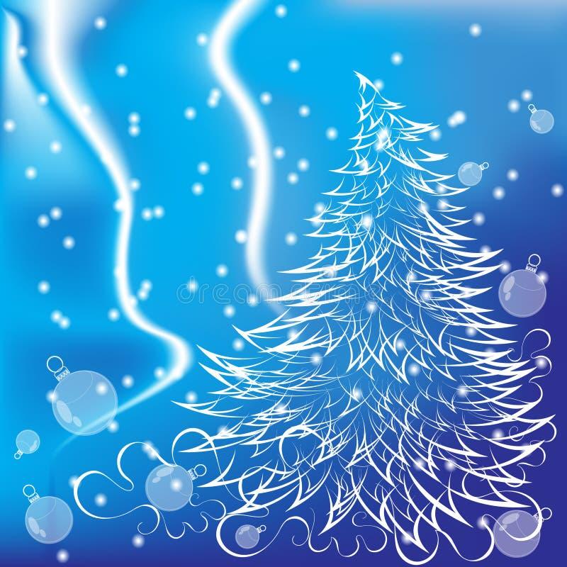 Nytt års gran-träd på en blå bakgrund royaltyfri bild