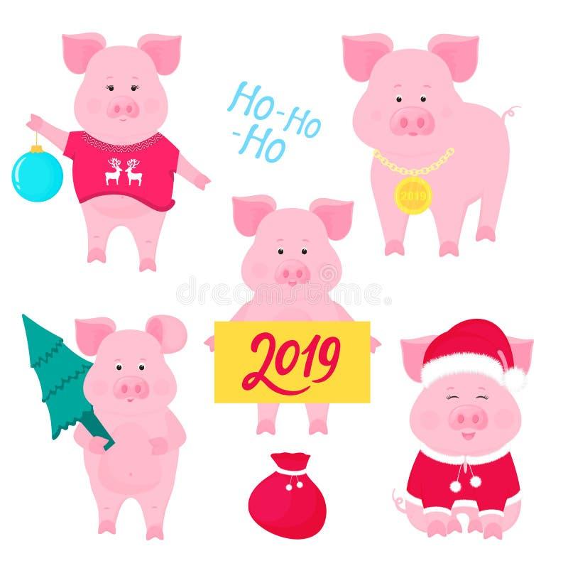 Nytt års uppsättning av gulliga svin Santa Claus Costume Piggy med en julboll, med en guldmedalj, i en tröja med hjortar vektor illustrationer