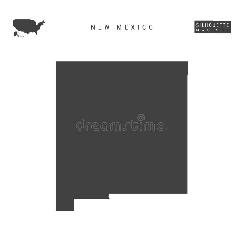 Nytt - översikt för Mexiko USA statvektor som isoleras på vit bakgrund Hög-specificerad svart konturöversikt av nytt - Mexiko vektor illustrationer