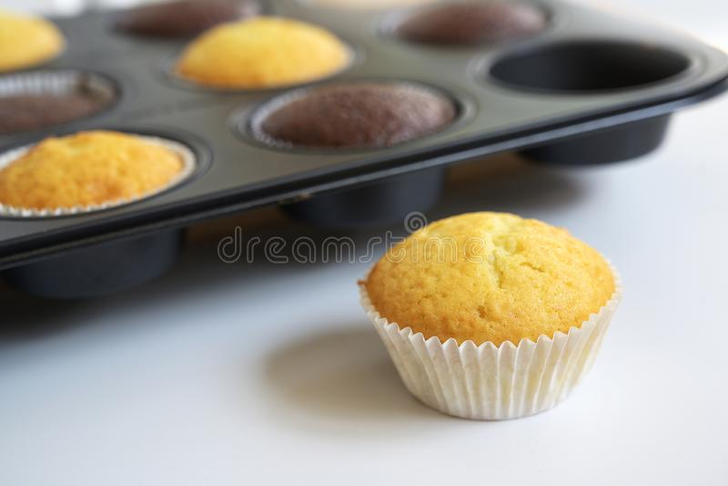 Nytt bakade variationer för muffinkakor itu i ett muffintenn, en stående yttersida, utvald fokus, smalt djup av fältet arkivfoton