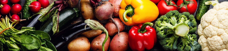 Nytt baner för rå grönsaker arkivfoton