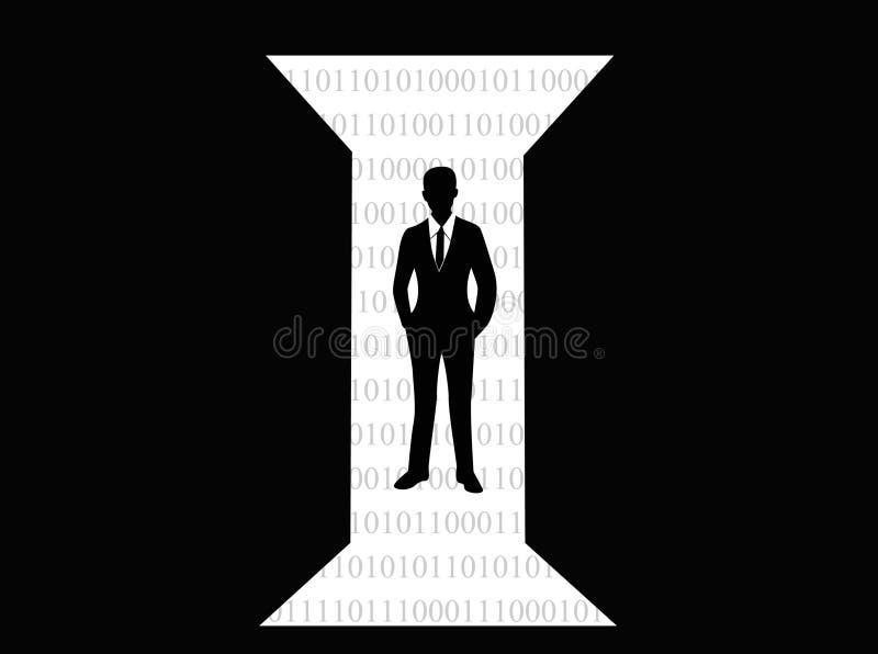 Nytt begrepp för affärstillfällen Kontur av affärsmannen som framme står av öppna dörrar, illustration stock illustrationer