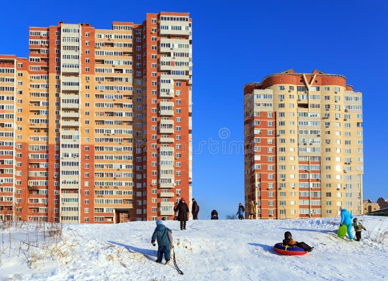 nytt bostads för byggnader Balashikha Moskvaregion, Ryssland arkivbilder