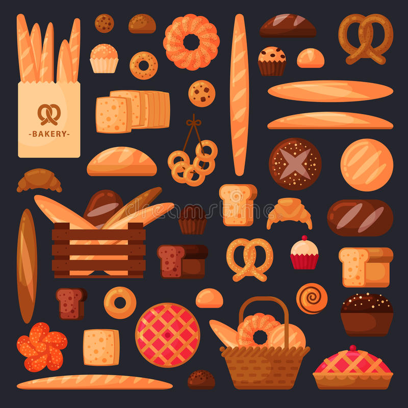 Nytt bröd och bakelser i plan stil royaltyfri fotografi
