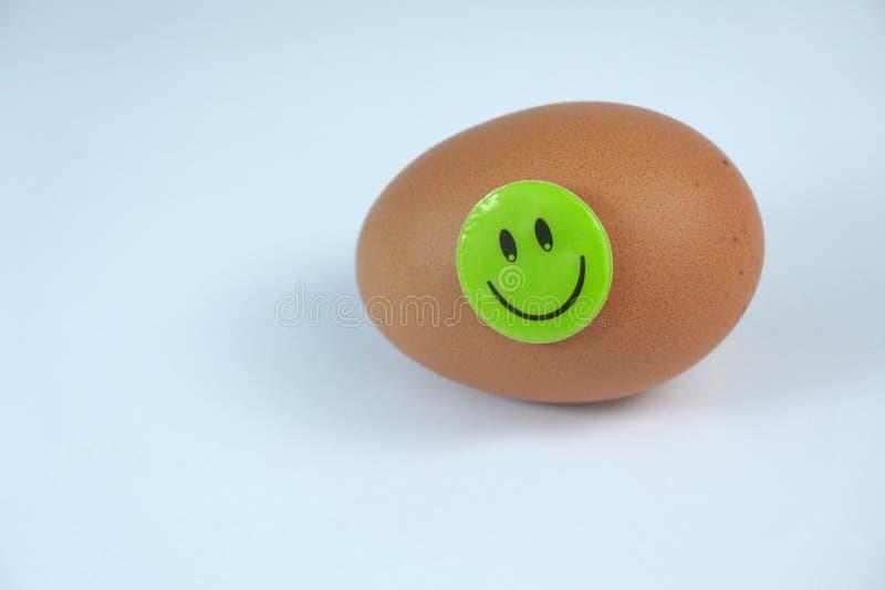 Nytt brunt ägg med den gröna smiley lyckliga framsidan som isoleras på vit bakgrund royaltyfri fotografi