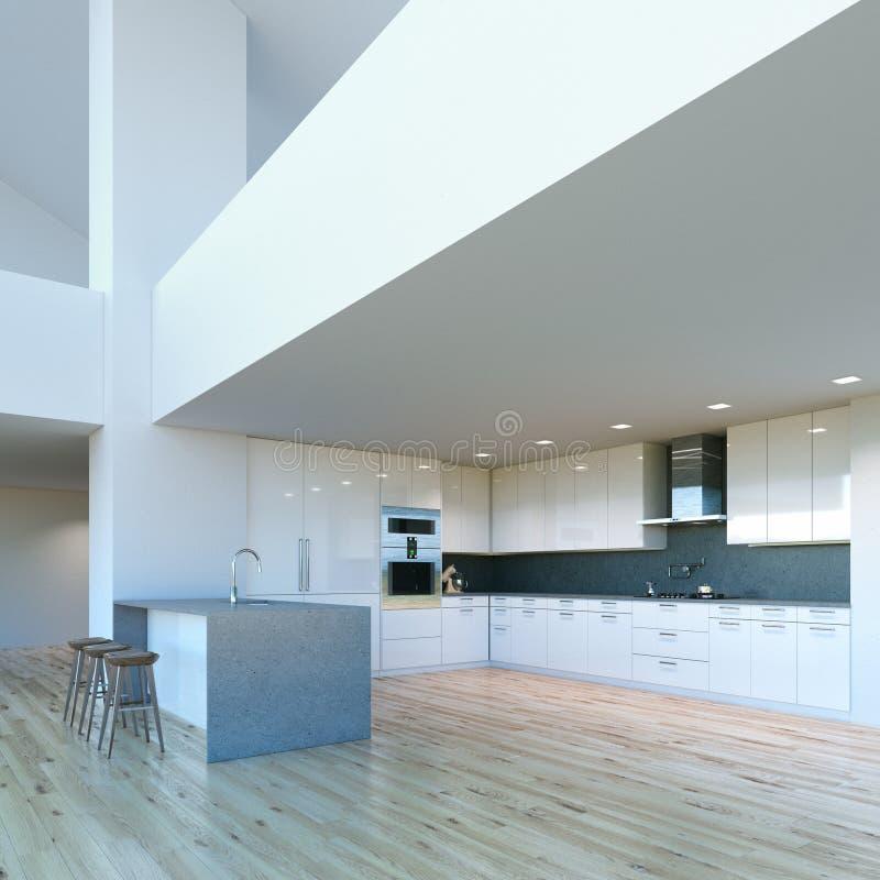 Nytt dekorerat modernt vitt kök i lyxig stor inre royaltyfri illustrationer