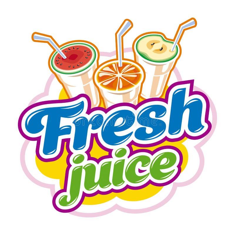 Nytt fruktsaftemblem stock illustrationer