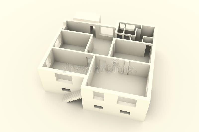 Nytt hus på vit bakgrund - bästa sikt - inre stock illustrationer