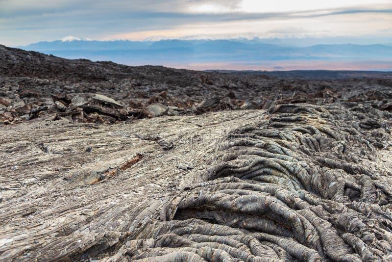 Nytt lavafält, Kamchatka halvö i Ryssland fotografering för bildbyråer