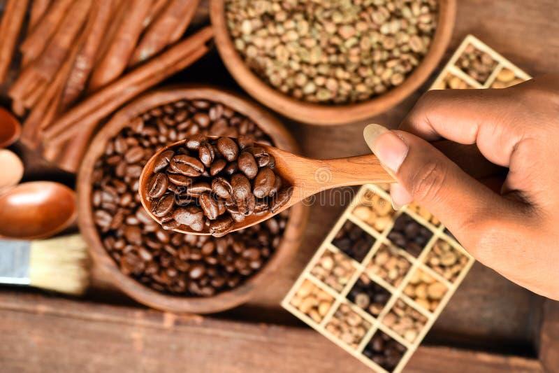Nytt malde kaffebönor i ett metallfilter och olika kaffebönor i en fyrkantig ask arkivfoton